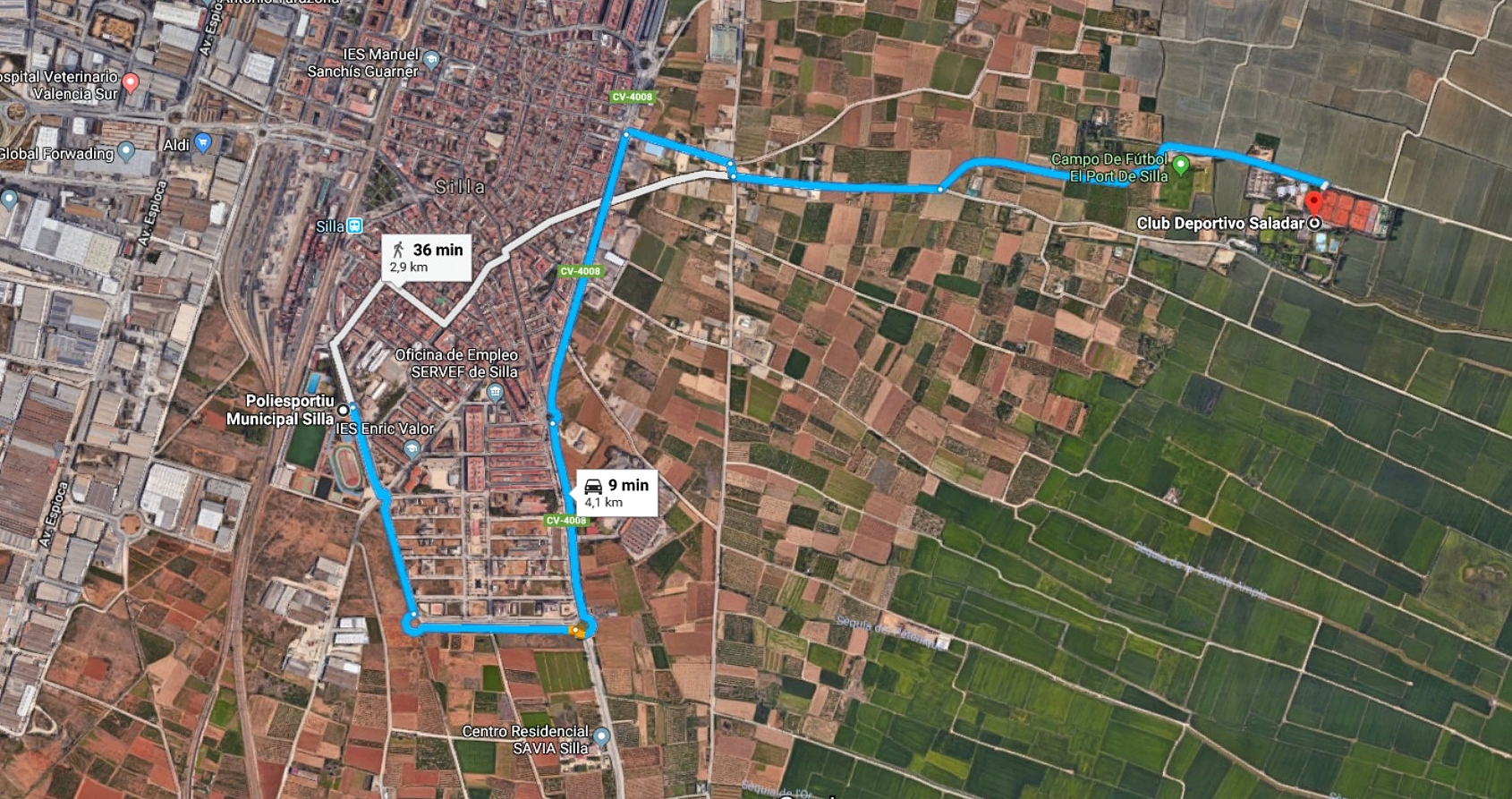 Route from Sport Center of Silla to Gala Dinner restaurant